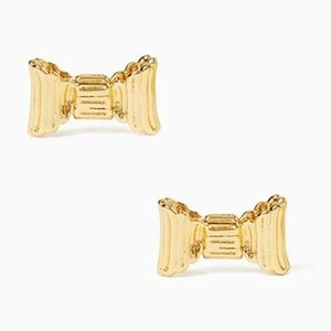 NWT Kate Spade gold ribbed bow earrings